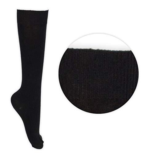 Childrens Back 2 School 6 Pack Knee High Plain School Cotton Rich Socks (4-5.5 (ADULTS), Black)