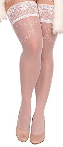 Unbekannt Ballerina Halterlose Damen-Strümpfe, weiß, Stockings große Größen XL XXL Hochzeit Grössen XXL+
