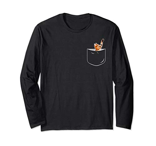 Pocket Bengal Cat Long Sleeve T-Shirt