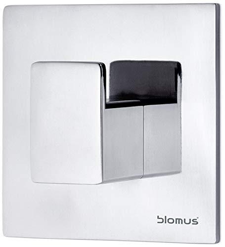 blomus -MENOTO- Wandhaken aus poliertem Edelstahl, selbstklebend, Montage ohne Bohren, Bad, Küche, Kleiderhaken, Handtuchhaken, exklusives Badaccessoire (H / B / T: 2,6 x 6 x 6 cm, Edelstahl, 68880)