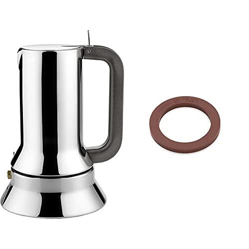 Alessi 9090/1 Caffettiera Espresso in Acciaio Inossidabile 18/10 Lucido & Guarnizione per caffettiera, Acciaio Inossidabile, Rosso-Marrone