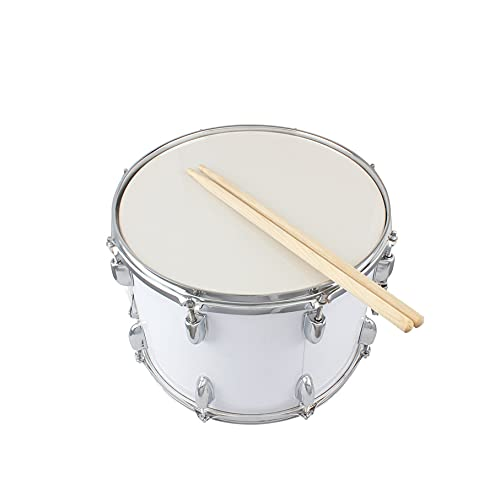 Marching Snare Drum; Poplar Wood Drum Percussion Snare Stent Snare Drums Musical Instrument Set With Drumstick&Drum Key&Shoulder Strap; Stable-Style; 14' x 10'; White