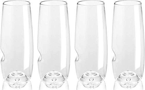 Govino 8 Ounce Dishwasher Safe Series Flute Glasses,Champagne Set of 4 With a Wine Savant Glass Cleaning Towel (2 Piece Bundle)