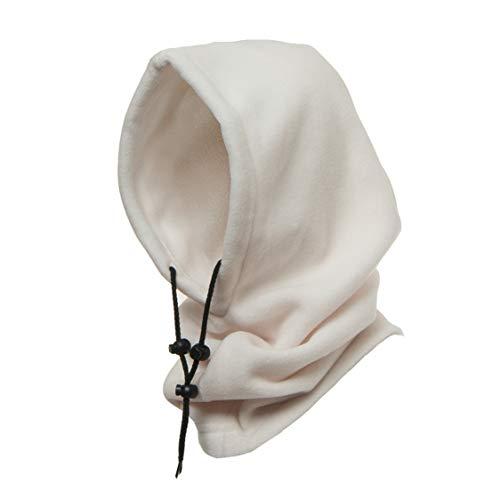 Winterproof 4 in 1 Full Face Hood Adults, Fleece Balaclava, Ski Mask Hoodie (Off White)