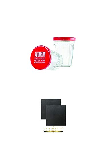 Partisan Sto Gramm Wodka Glas 10 cl mit Deckel 2 Stück + Schiefer Glasuntersetzer eckig ca. 9,5 cm Ø 2 Stück