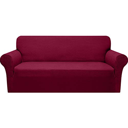Granbest Modern Couch Cover Stylish Pattern Sofa Covers for 3 Cushion Couch Durable Furniture Protector 1-Piece Sofa Slipcover with Non-Slip Foam Elastic Bottom(Large, Wine Red)
