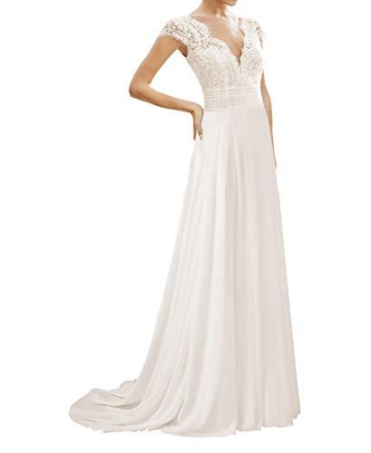 HUINI Damen Brautkleider Lang Vintage Hochzeitskleider Standesamt Prinzessin Brautmode Kleid mit Spitzen Weiß 36