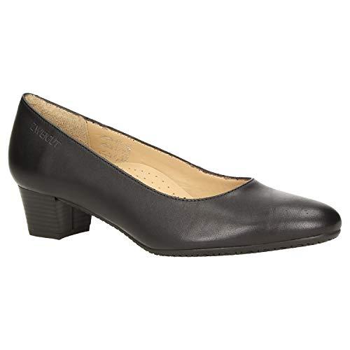 Zweigut® -Hamburg- smuck #213 Damen Leder Pumps - Flacher Absatz - weich - Nappaleder Sommer Business Schuhe Komfort Laufsohle, Schuhgröße:40, Farbe:schwarz