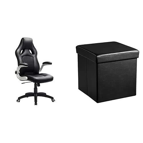 SONGMICS Racing Stuhl Bürostuhl Gaming Stuhl Chefsessel Drehstuhl PU, schwarz, OBG62B & Faltbarer Sitzhocker Aufbewahrungsbox belastbar bis 300 kg, Lederimitat, schwarz, 38 x 38 x 38, LSF101