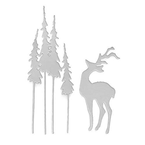 Silber Huhuswwbin Metal Cutting Scrapbooking Cutting Dies,Baum Hirsch Metall Stanzformen DIY Scrapbooking Papierkarten Handwerk Punch Schablone Pr?gewerkzeug