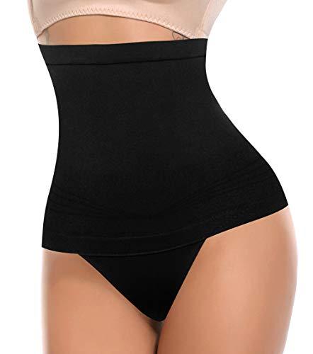 MISS MOLY Ceinture Haute pour femme Invisible Culotte amincissante Abdomen Sous-vêtement sans couture Ventre plat - Noir - S
