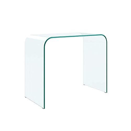 EGLEMTEK Consolle Tavolo da Salotto e Soggiorno in Vetro Temperato - Luxury Z-12 - Design Moderno e Curvo, Dimensioni 80 x 71 x 44 cm, Trasparente