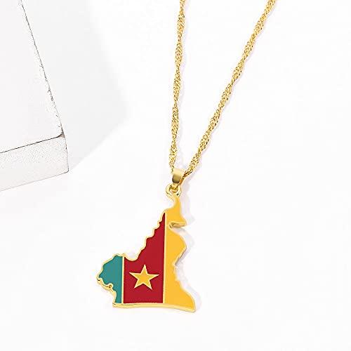 Kkoqmw Bandera de Mapa de Camerún Colgante de Color Dorado Collares de Cadena joyería mapas de país de Camerún Collar de cameruneses Regalos