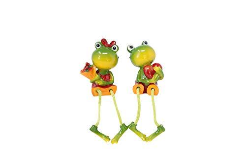 Benera Kantenhocker Frösche Deko Figuren Froschfiguren Liebespaar aus Polyresin 2er Set 12 cm