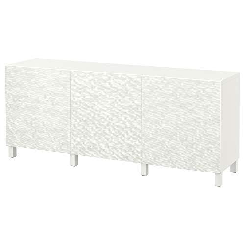 BESTÅ förvaringskombination med dörrar 180 x 40 x 74 cm vit/Laxviken vit