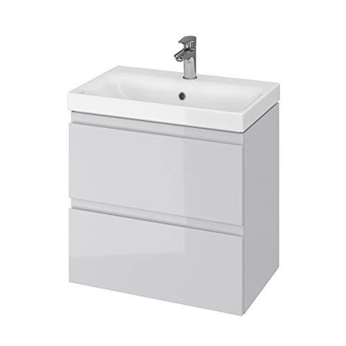 VBChome Badmöbel Grau 60 x 38 cm Slim Waschbecken mit Unterschrank Waschtisch 2-Schubladen Moduo
