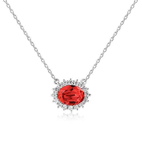 LFNSTXT Oval Pink Crystal Rhinestone Collares Pendientes 100% 925 Cadena De Plata Esterlina Mujer Joyería 37Cm @ Rojo