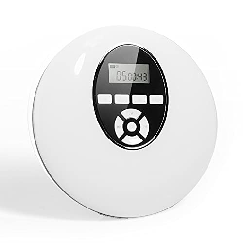 Rodada Estilo CD player Headset Portátil HiFi Música Reprodutor CD Walkman DiscMan Jogador Recarregável à prova de choque Lectreur CD (Color : White)