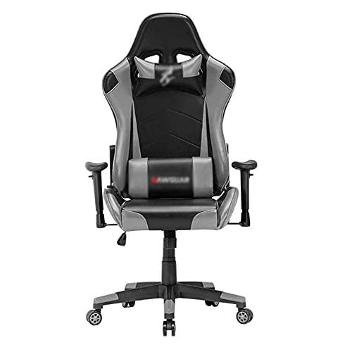 Computer-Gaming-Stuhl, Büroschreibtischstuhl Swivel Racing Chair PC Gamer Stuhl, ergonomischer Stuhl High Back Liegestuhl mit Kissen und Rückenunterstützung Grey