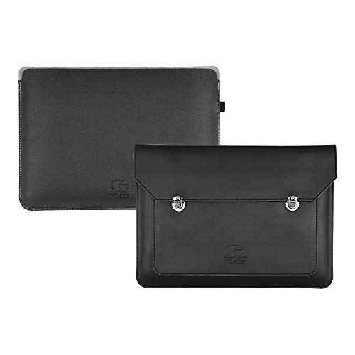 °CÆŠE - Set of 2 13 inch laptop cases with additional case, faux leather (PU) in black, can also be used as a briefcase or document folder, MacBook Pro 13 case, MacBook Air 13, Surface, Dell XPS 13