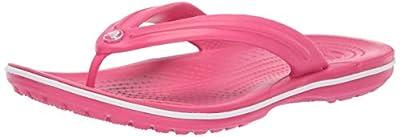 Crocs Crocband Flip Flop | Slip-on Sandals | Shower Shoes, paradise pink/white, 6 US Men/ 8 US Women M US
