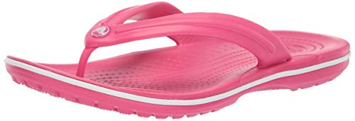 crocs Crocband Flip 11033 Unisex-Erwachsene Zehentrenner, Rosa (Paradise Pink/White), 38/39 EU (Herstellergröße: M6/W8)