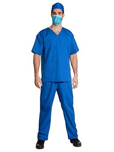 Maskworld Chirurg Kostüm mit Hemd, Hose, Kappe & Mundschutz blau - Größe: M-L - Anzug Verkleidung für Karneval, Fasching & Motto-Party