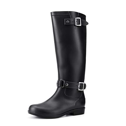 gracosy Regenstiefel Damen Wasserdicht Gummistiefel Langschaft Stiefel Flach Damen Halbhoch PVC Boots rutschfest Casual Garten Stiefel Herren und Damen für trockene warme Füße