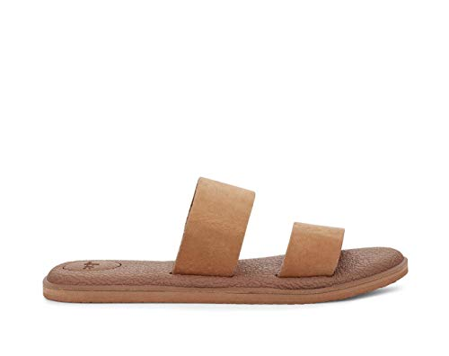 Beach Sandals Bundle: Sanuk Women's Yoga GORA Leather Sandal Tan 8 & Beachmat