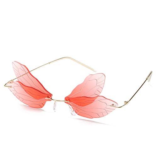 HFDHD Gafas de Sol de ala de libélula sin Montura a la Moda, Gafas de Sol Irregulares, Gafas de Sol sin Montura Steampunk de Fiesta de Moda, Hombres y Mujeres de la Vendimia I