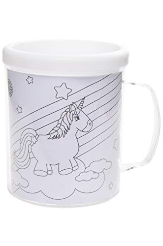 8202 Einhorn Kindertasse zum selbst bemalen, inkl. 6 Buntstifte und 3 Malvorlagen, Einhorn-Motiv, Unicorn, Becher Kids Tasse selbst gestalten, Kinder-Becher