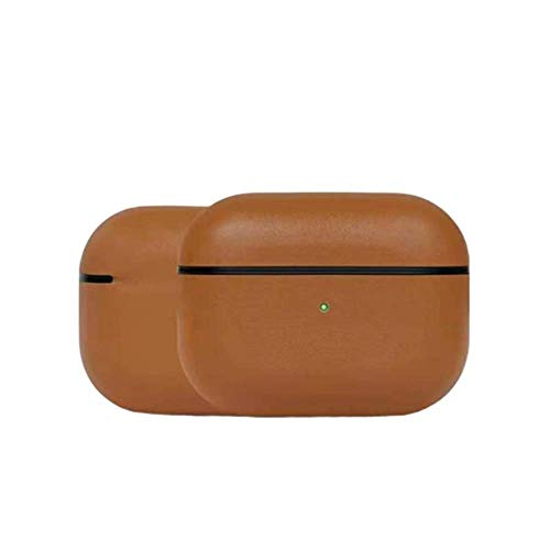 Khcr-CL Funda AirPods Pro, Funda Protectora portátil a Prueba de Golpes de Cuero Genuino Premium Funda de Carga para Auriculares (LED Frontal Visible) Soporte de Carga inalámbrica,Marrón