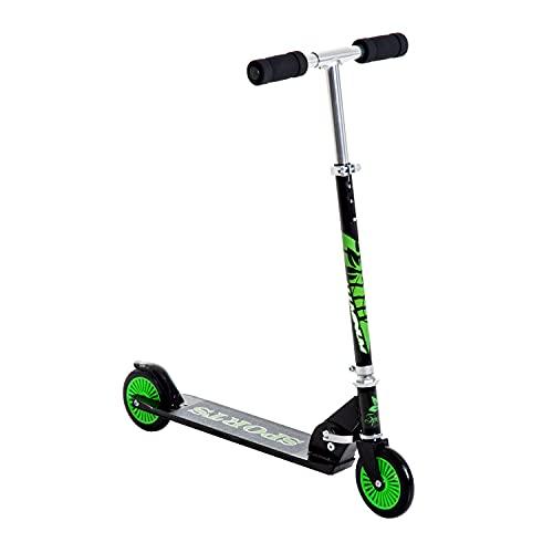homcom Patinete para niños plegable con 2 ruedas, manillar ajustable en altura de aluminio, 70 × 34 × 84 cm