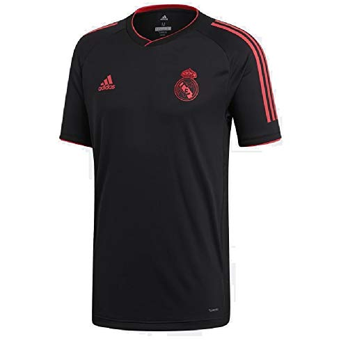 adidas 2018/19 Mens Real Madrid Europe Training Jersey Black/Real Coral Large