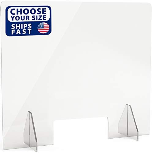 SignHero Sneeze Guard   Professional, Sturdy Acrylic Plexiglass Shield   USA-Made, Fast Shipping, 30 Second Setup   Plexiglass Barrier for Counter, Reception, School, Office (Multiple Sizes)