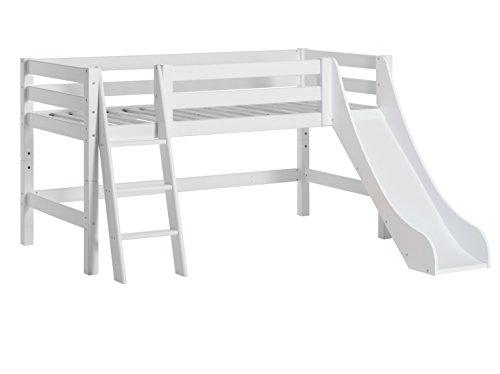 Hoppekids PREMIUM Kiefer massiv inklusiv Lattenrost, schräg Leiter und Rutsche, Holz, Weiß, Single, 209 x 114 x 197 cm