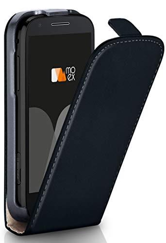 MoEx Flipcase kompatibel mit Motorola Moto E3   Klapphülle Handytasche mit R&um Schutz - Handy Hülle Klappbar Flip Hülle, Schwarz