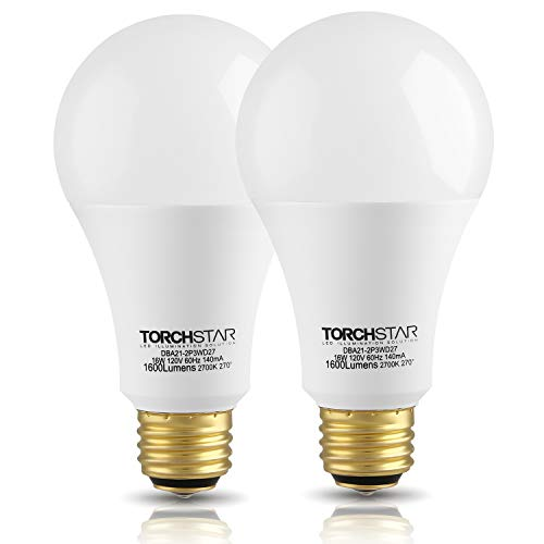 TORCHSTAR 40/60/100W Equivalent 3-Way A21 LED Light Bulb, Energy Star & UL-Listed, E26 Base for Table Lamp, Bedside Lamp, Floor Lamp, 3 Years Warranty, 2700K Soft White, Pack of 2