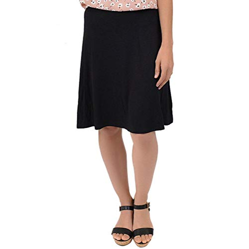 Stretch is Comfort Girl's A-Line Knee Length Flowy Skirt Black Large