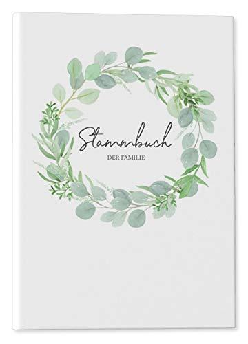 DeinWeddingshop Stammbuch der Familie - modernes Familienstammbuch - Hochzeit Standesamt - Hardcover 16x21cm - Eucalyptus Green Love