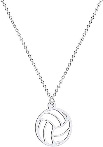 ZGYFJCH Co.,ltd Collar Collar de Voleibol Mujeres Hombres Bola Colgante Deportes joyería Regalos Voleibol Deportes Fan Entrenador Collar Regalo