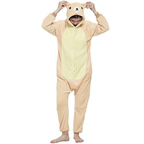 BALCONY & FALCON Schlafanzug mit Tiermotiv, Nachtwäsche, Plüsch, für Erwachsene und Jugendliche, ideales Geschenk für Weihnachten, Halloween, Cosplay, Braun L