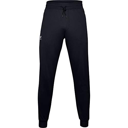 Under Armour Men's Sportstyle Tricot Joggers, Black (001)/White, Medium
