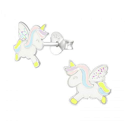 Pendientes de unicornios y cuerno amarillos con alas brillantes, ideales como regalo para niñas