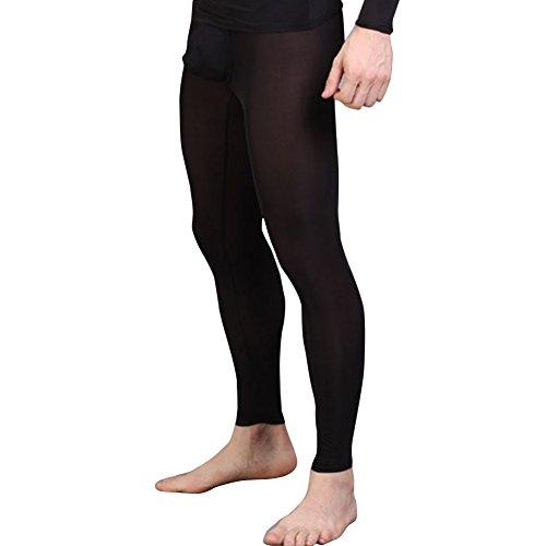 dPois Herren Strumpfhose Durchsichtig Leggings Semi Transparent Lange Strümpfe Männer Leggings Pantyhose Unterhose mit Weichbund Unterwäsche Nachtwäsche Schwarz M