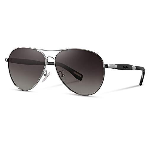 EyeGlow Occhiale da sole da uomo e da donna in metallo retro rana polarizzata in titanio UV400 (Grigio argento)
