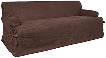 SureFit Home Décor SF40451 Soft Suede T-Cushion Sofa Cover Relaxed Fit Polyester Machine Washable One Piece Chocolate Color