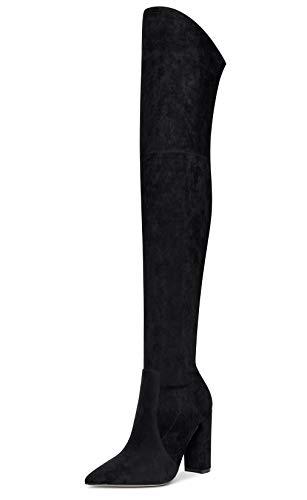 CASTAMERE Femme Bottes Au-Dessus du Genou Fermeture Eclair 10CM Talon Bloc Haute Noir Suède Chaussures EU 43