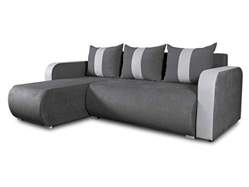 Ecksofa Rino mit Schlaffunktion und Bettkasten - L-Form Couch, Polsterecke, Couchgarnitur, Eckcouch, Ecke, Sofa, Sofagarnitur - Ottomane Universal (Enjoy 24 + Cayenne 1132)
