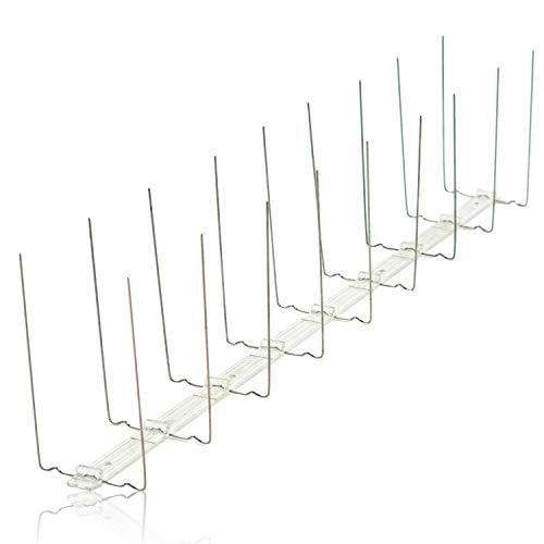 Edelstahl Taubenabwehr 2 reihig auf Polycarbonatleiste/Kunststoff Taubenspikes Gesamtlänge 1 Meter, 2 Stück á 0,50 cm Taubenschutz Spikes für Balkon, Fensterbank, Dachrinne, Dachfirst, Geländer